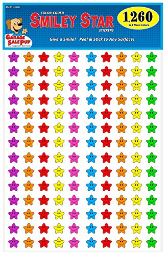Pack of 1260 Happy Face Smiley Star Stickers, 3/4 inch, 7 Bright Neon Colors, Great for Teachers & Classrooms!