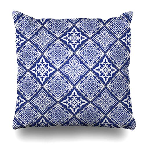 - DaniulloRU Throw Pillow Covers Chintz Abstract Patchwork Pattern Geometric Floral Mosaic Flowers Dots Snowflakes Lace Vintage Home Decor Sofa Cushion Cases Square Size 16 x 16 Inches Pillowcase