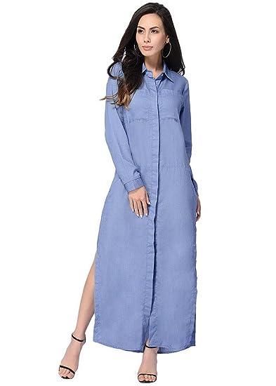 3cd80865c0 Evedaily Femme Robe Chemise Longue Maxi Manche Longue en Coton Robe Fendue  sur Les Côtés Casual