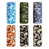 Cool Pack of 6 Pcs Seamless Style Camo Bandanna Headwear Scarf Wrap Neck Gaiters. Perfect for Running & Hiking, Biking & Riding, Skiing & Snowboarding, Hunting, Working Out & Yoga for Women and Men (Color 11)
