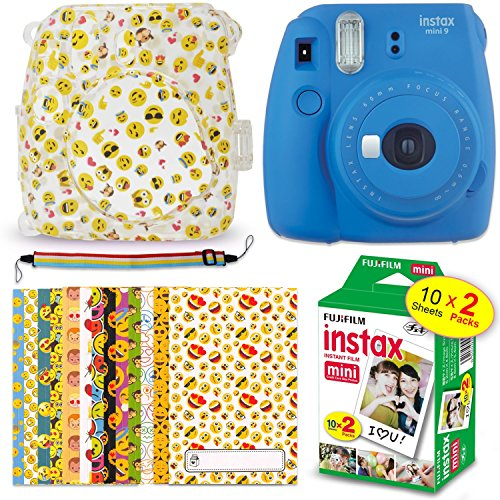 FujiFilm Instax Mini 9 Instant Camera Cobalt Blue + Fuji Instax Film (20 Sheets) + Emoji Print Hard Clear Case + 20 Emoji Sticker Frames + Rainbow Neck/Shoulder Strap