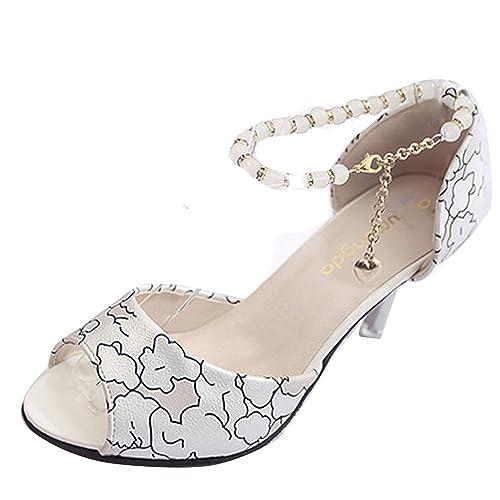 c5c9e7084a51ba Gaorui New Women Peep Toe Beaded Ankle Strap Stiletto Sandal High Heel  Cover Heel Shoes Beige