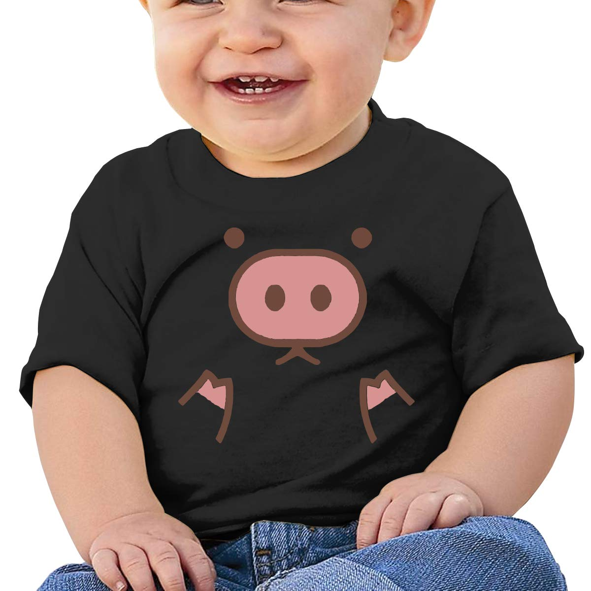 Piggy Cute Pig Cartoon Baby Boys Girls Short Sleeve Crew Neck Tee Shirt 6-18 Month Tops