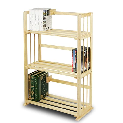 Furinno FNCL 33001 Pine Solid Wood 3 Tier Bookshelf