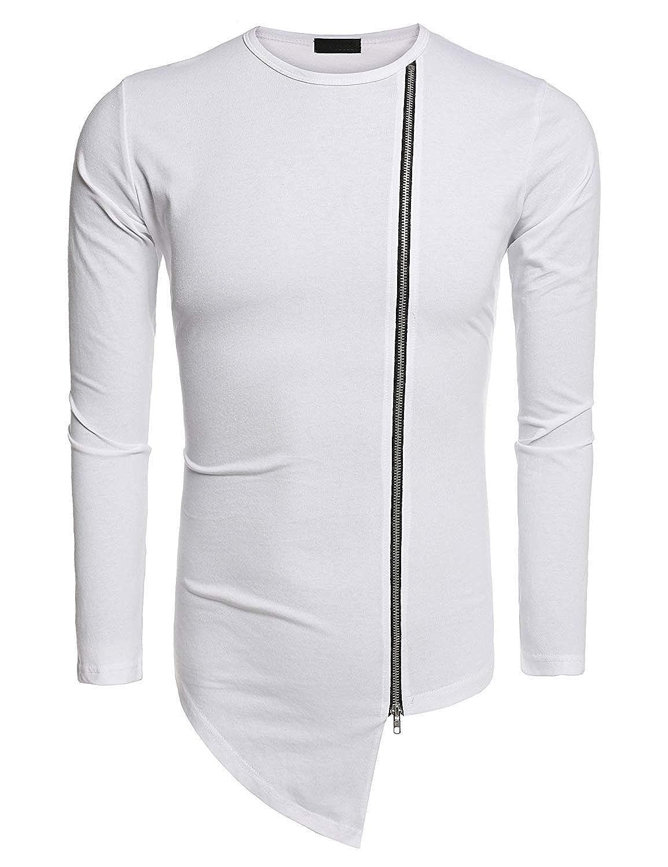 Pullover T-Shirt da Uomo Camicetta Felpa da Uomo A Maniche Giovane Lunghe T-Shirt da Uomo con Scollo A V A Forma di Bottone None