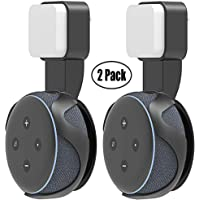 Yuanling Outlet Wall Mount Hanger Stand for Echo Dot 3rd Gen, A Space-Saving Solution for Your Smart Home Speakers Without Messy Wires or Screws (Dot 3rd Black 2 Pack)