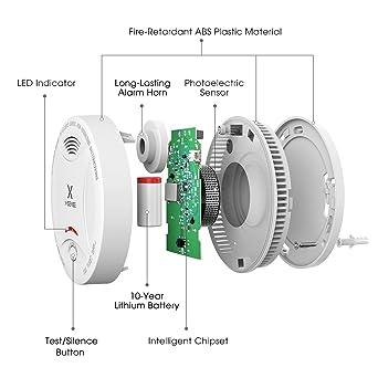 Alarma de Humo X-SENSE SD13, Detector Fotoeléctrico de Humo con Alarma de Incendio Inteligente, 10 Años de Duración de la Batería y Chequeo Automático, ...