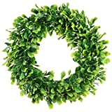 Lvydec Artificial Green Leaves Wreath - 15'' Boxwood Wreath Outdoor Green Wreath for Front Door Wall Window Party Décor