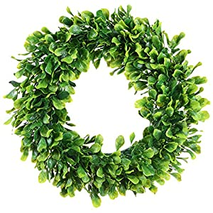 Lvydec Artificial Green Leaves Wreath - Boxwood Wreath Outdoor Green Wreath for Front Door Wall Window Party Décor 20