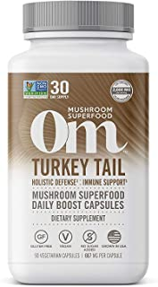 product image for Om Mushroom Superfood Capsules, Turkey Tail, 90 Count (30 Day Supply), Immune Support, Gut Health & Holistic Defense Supplement