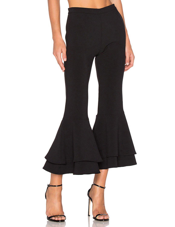 HaoDuoYi Womens Elegant Frills Solid Ruffle Capri Pants(XXL,Black)