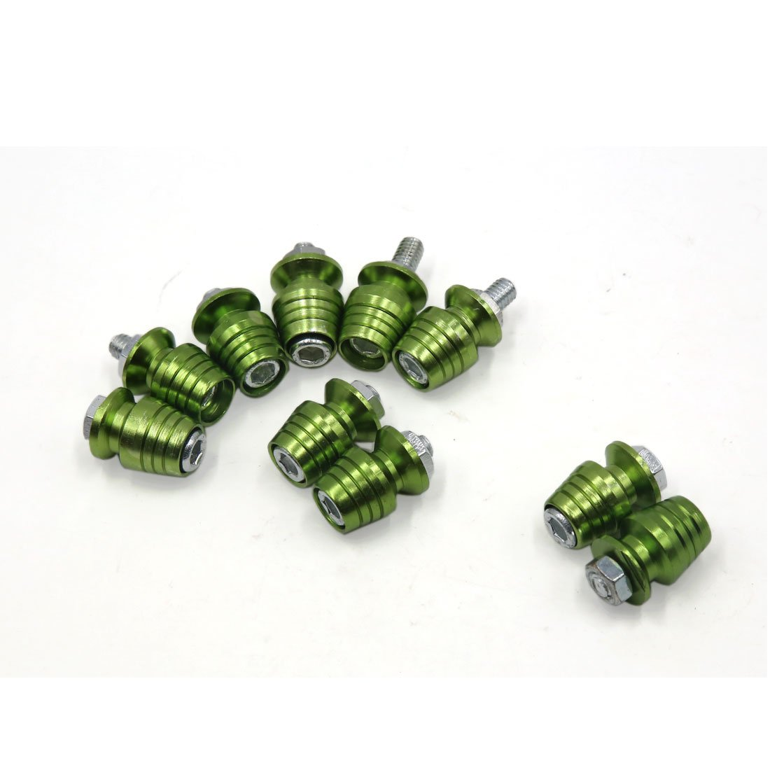 uxcell 10Pcs Universal Light Green Metal Motorcycle License Plate Frame Bolt Screw