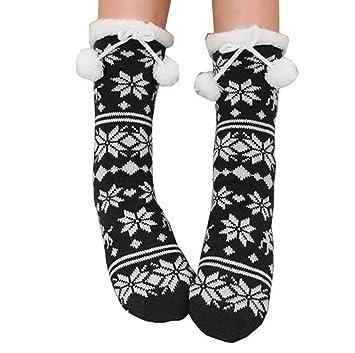 Zoylink Calcetines De Mujer Calcetines De Invierno Tejido De Forro Polar De Copo De Nieve Calcetines