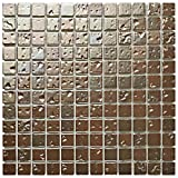 SomerTile FCP11TAC Margaret Ore Porcelain Mosaic Floor and Wall Tile, 12'' x 12'', Tan/Bronze/Metallic