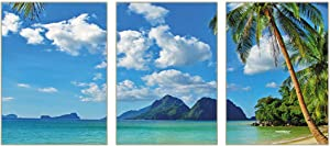 """Unframed Modern Abstract Blue Sky and White Clouds Seaside Palm Trees Wall Art Prints Set of 3 (8""""X10"""" Canvas Picture) Bedroom Living Room Bathroom Corridor Study Art Painting Home Decor Poster"""