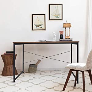 """SINKCOL Computer Desk, 47"""" Office Desk with 0.6"""" Thicker Tabletop, Simple Writing Desk, Industrial Style Writing Study Gaming Table for Home Office, Brown"""