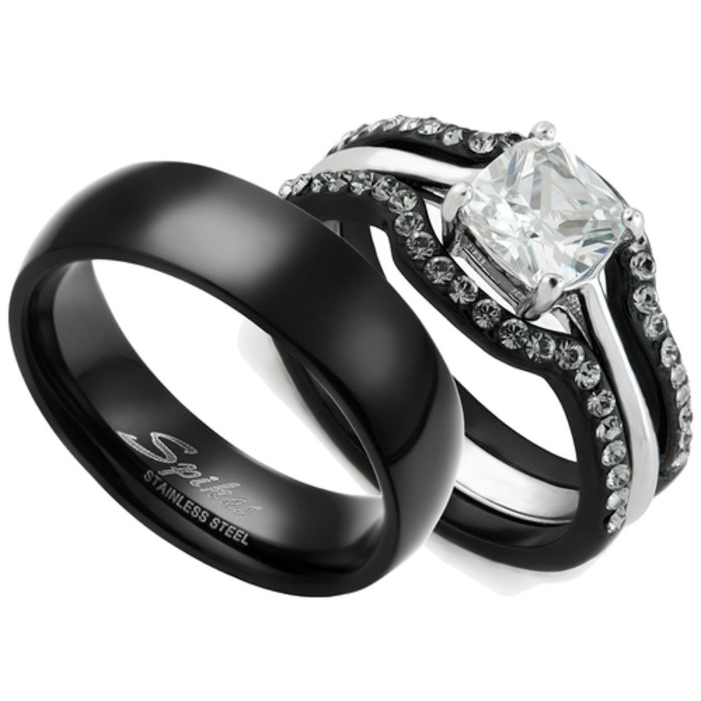 HIS & HERS 4PC BLACK STAINLESS STEEL WEDDING ENGAGEMENT RING & CLASSIC Band SET Women's Size 05 Men's 06mm Size 06