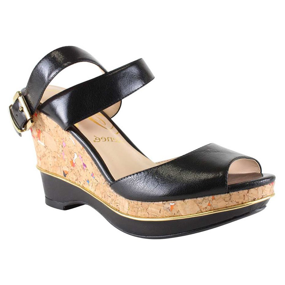 J.Renee Womens sarila Leather Open Toe Casual Platform Sandals B01549WPYA 9.5 B(M) US|Black Leather