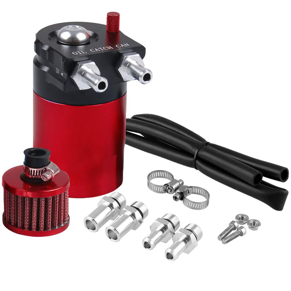 Blue Universal Car Oil Catch Can Kit Reservoir Tank 300ml with Breather Aluminum Compact Dual Cylinder Polish Baffled Engine Air Oil Separator Tank Fit