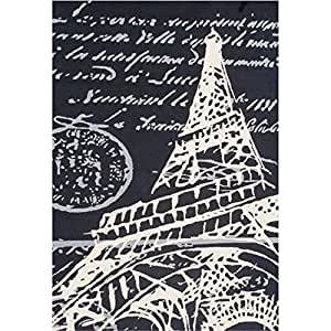 Hand Hooked Abstract Paris Eiffel Tower Patterned Area Rug, Vibrant Classic Parisian Themed, Rectangle Indoor Hallway Doorway Living Area Bedroom Carpet, European Design, Black, White, Size 5' x 8'