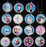 15 DISNEY FROZEN Flat Bottle Cap Necklaces for Birthday, Party Favor Set A2