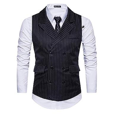 feb2db79d6e Cloudstyle Mens Pinstripe Vest Slim Fit Formal Dress Vest Double-Breasted  Business Vest