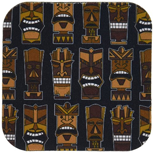- 3dRose CST_77485_1 Cute Tiki Mask Print Large-Brown on Black-Soft Coasters, Set of 4