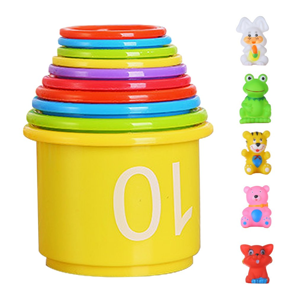 Utmury Stacking Cups for Kids,10 Pieces of Stacking Cups