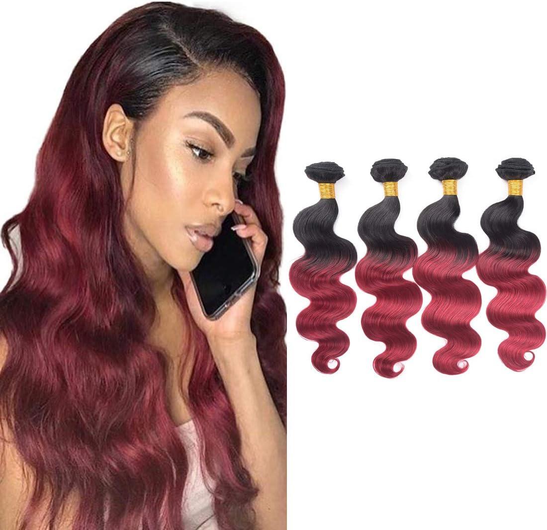 Ombre Body Wave paquetes de cabello humano 1B/borgoña brasileño virgen cuerpo Wave 4 paquetes de cabello humano (12 14 16 18)