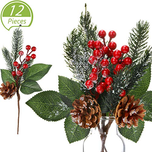 12 Pieces Pine Snowy Flower Picks Artificial Holly Red Berry Pine Cone Picks Fake Berries Pine Cones for Christmas…