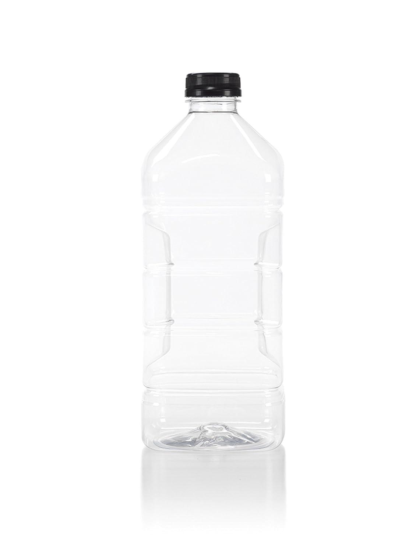 (6) 64 oz. Clear Food Grade Plastic Juice Bottles with Tamper Evident Black Caps 6/Pack (64 oz, Black Lid)
