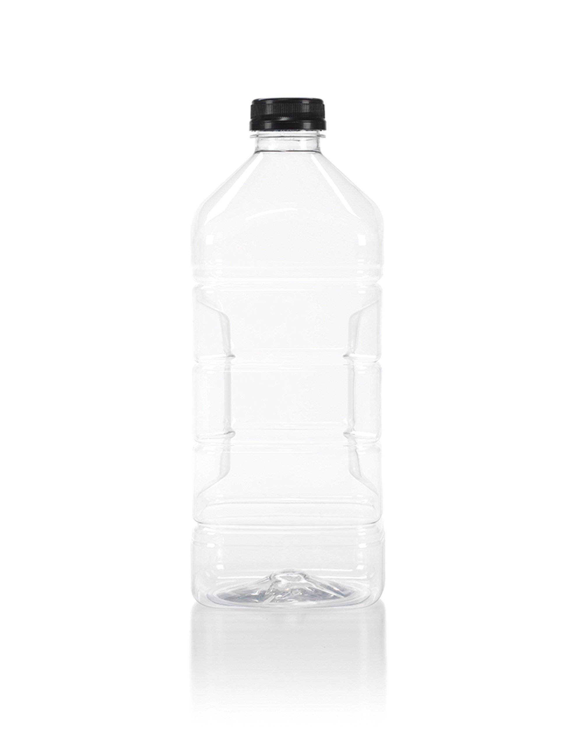 (6) 64 oz. Clear Food Grade Plastic Juice Bottles with Tamper Evident Black Caps 6/pack (64 oz, Black Lid) by Juce Jugz
