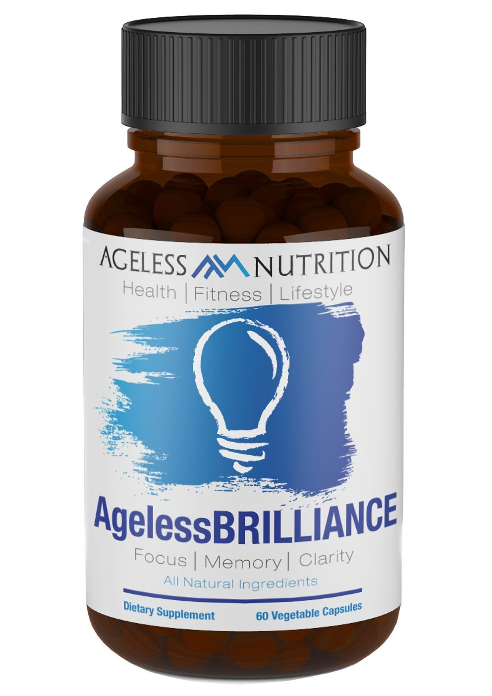 AgelessBRILLIANCE - Premium Brain Support Supplement - Mental Health Formula for Improved Focus, Memory, and Clarity - All Natural Nootropic - DMAE, Ginkgo Biloba, Bacopa Monnieri 60 Veggie Capsules by Ageless Nutrition