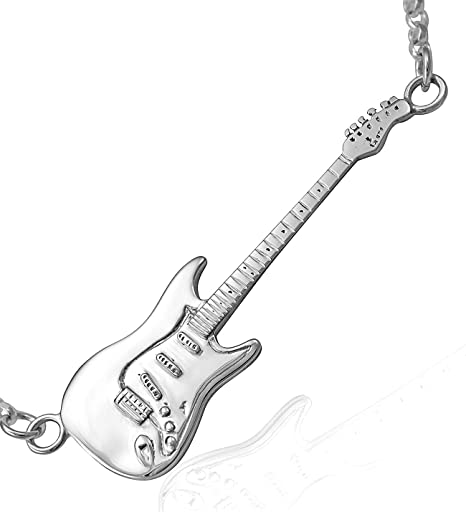 Unisex sólido plata de ley Fender Stratocaster Guitarra eléctrica collar cadena 925, Horizontal Large 50mm
