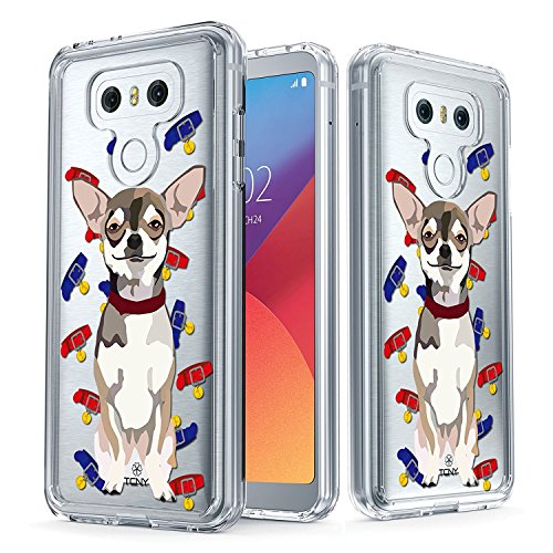 LG G6 Case - True Color Clear-Shield Chihuahua Dog My Lovely Pet Collection Printed on Clear Back - Soft and Hard Thin Shock Absorbing Dustproof Full Protection Bumper (Full Belly Bowl)