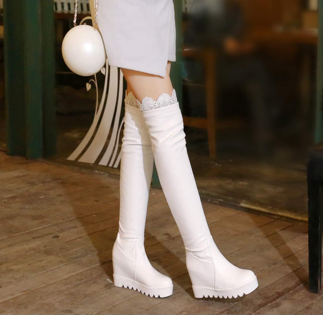 DANDANJIE Damen Stiefel Overknee PU Elastische Elastische Elastische Spitze Hohl Stiefel Keil Hohe Stiefel 43ed43