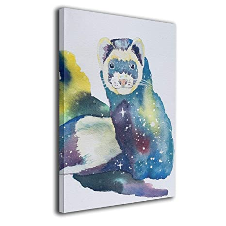 Amazon Com Yz Mamu Cosmic Watercolor Ferret Wall Art Painting