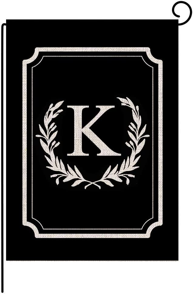 "Titiyogo Garden Flag Monogram Flag Letter K Vertical Double Sided Burlap Flag 12.5"" x 18"" Farmhouse Yard Beach Outdoor Decor"