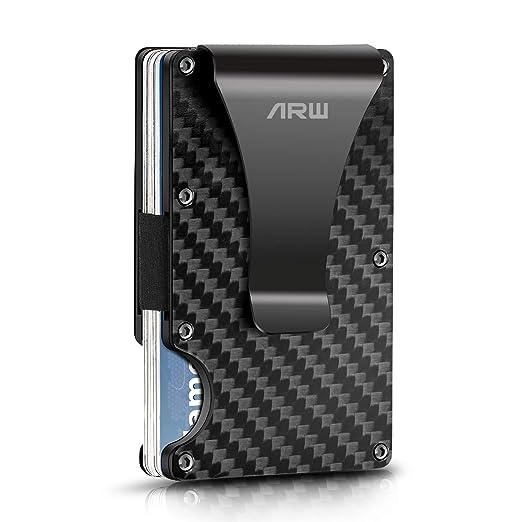 Carbon Fiber Wallet Metal Money Clip Wallet Rfid Blocking