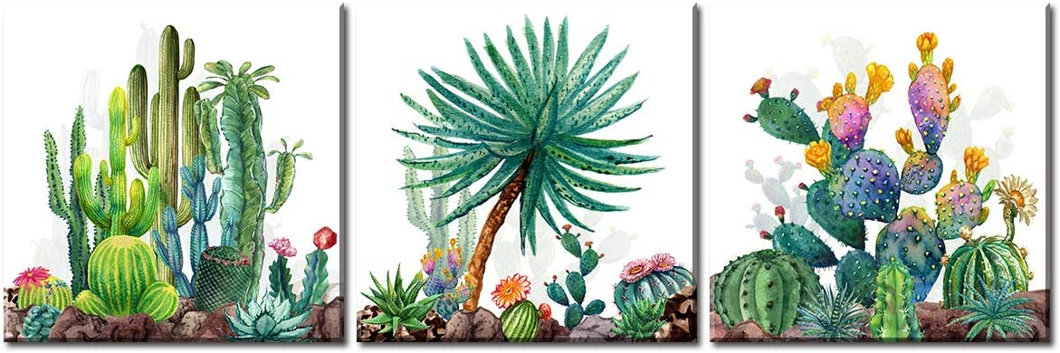 JiazuGo - Watercolor Cactus Wall Art Green Tropical Desert canvas painting decor 12 x12 x 3 Pieces bedroom artwork decorations Office Works Home Decoration Stretched and Framed Ready to Hang
