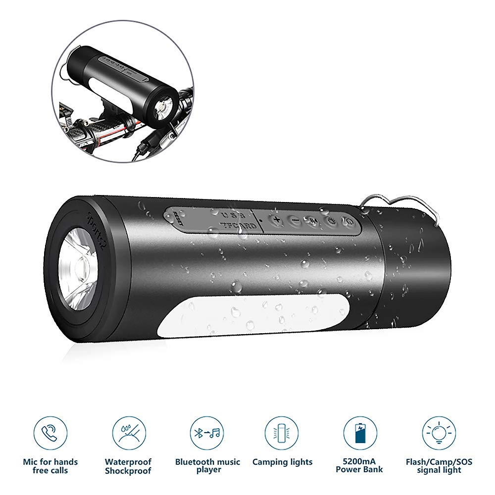 Bluetooth Speaker,SILIFUN Portable IPX5 Waterproof Dustproof Shockproof Bluetooth Speaker Outdoor Wireless Bicycle Speaker with Camp LED Flashlight,Built-in Mic,TF Card for Camping/Beach/Sports(Black)