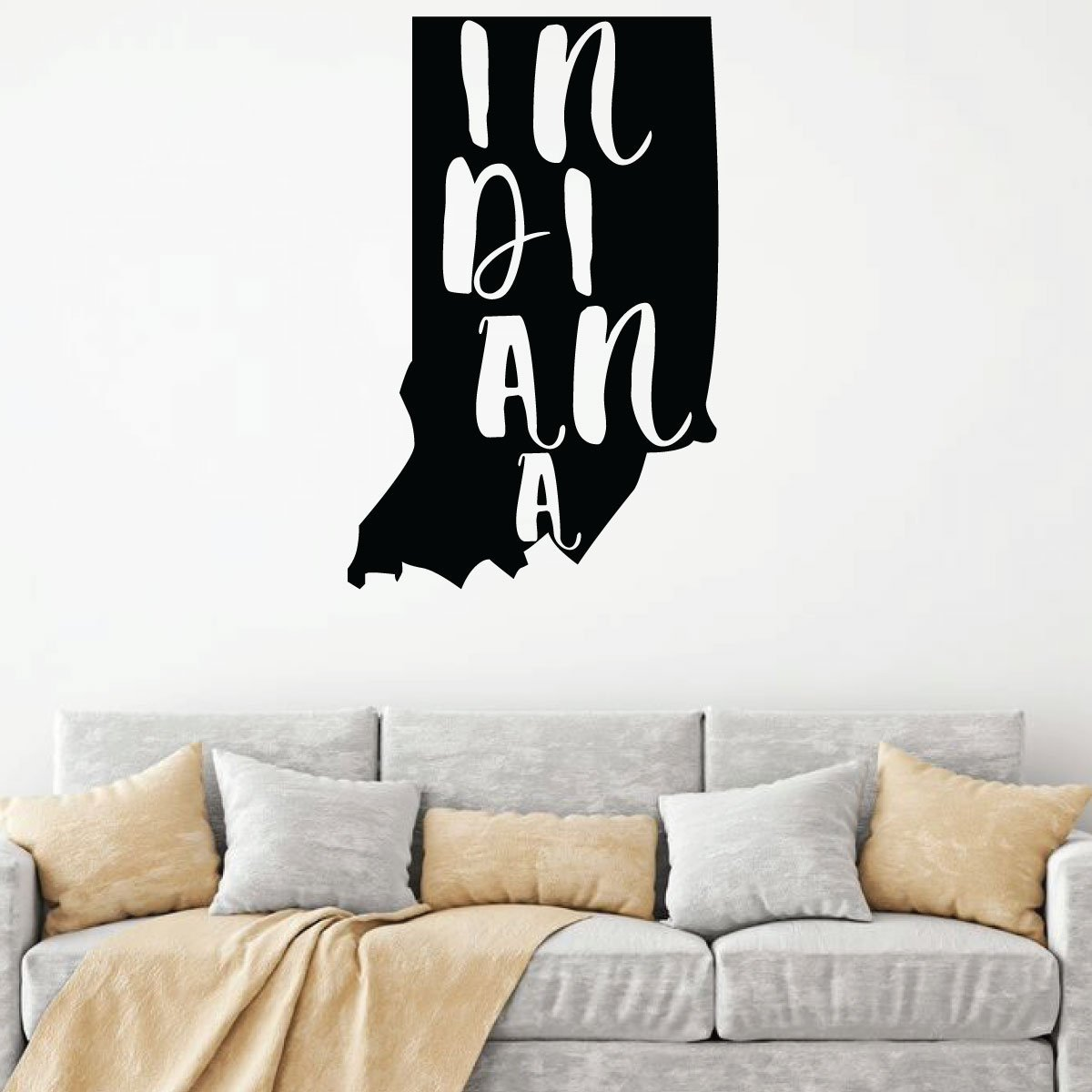 Indiana Wall Decal - State Silhouette Vinyl Art for Home Decor, Living Room or Family Room Decoration