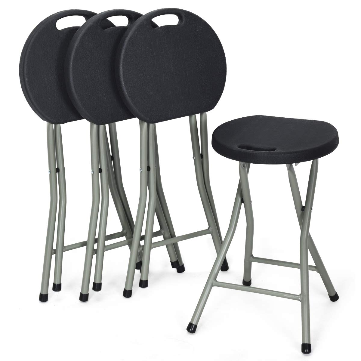 COSTWAY Set of 4 Folding Stool, Heavy Duty 18 inch Foldable Round Chair, Portable Collapsible Padded Seats with Durable Iron Legs, 300lbs Capacity for Adults, Suitable for Indoor and Outdoor (Black) by COSTWAY