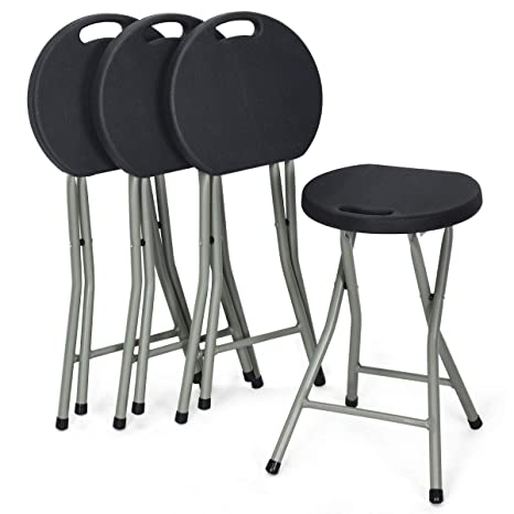 Super Costway Set Of 4 Folding Stool Heavy Duty 18 Inch Foldable Round Chair Portable Collapsible Padded Seats With Durable Iron Legs 300Lbs Capacity For Spiritservingveterans Wood Chair Design Ideas Spiritservingveteransorg