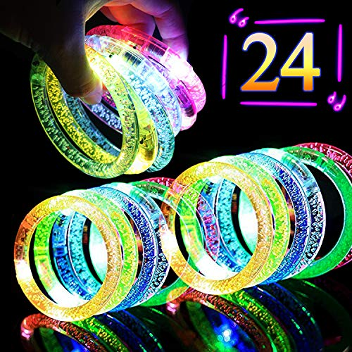 Kakary 24PCS Light Up Bracelets Flashing Colorful LED Bracelet Glow in The Dark Party Supplies,Fluorescence Stick Glow Bracelet Light Up Toys for Wedding,Birthdays,Concert,Night Games Rave -
