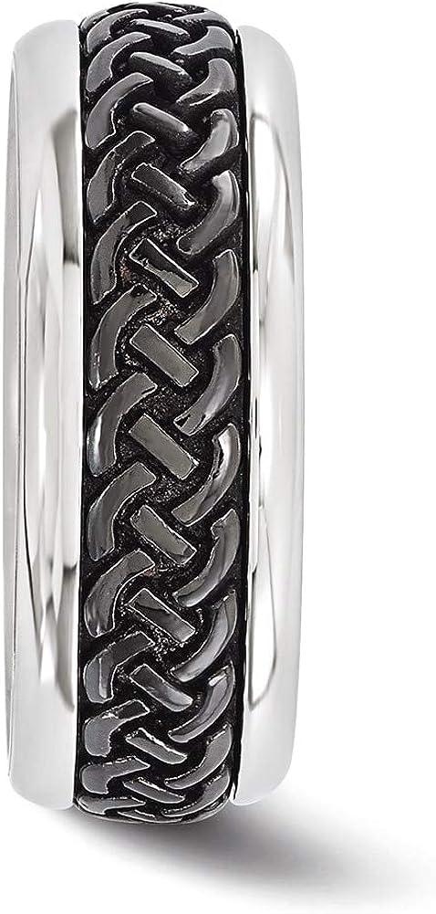 Lex /& Lu Edward Mirell Titanium /& Steel Black Ti Patterned 9mm Band