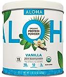 ALOHA Organic Plant Based Protein Powder, Stevia Free, Vanilla, 19.6 oz, 15 Servings PACKAGING MAY VARY