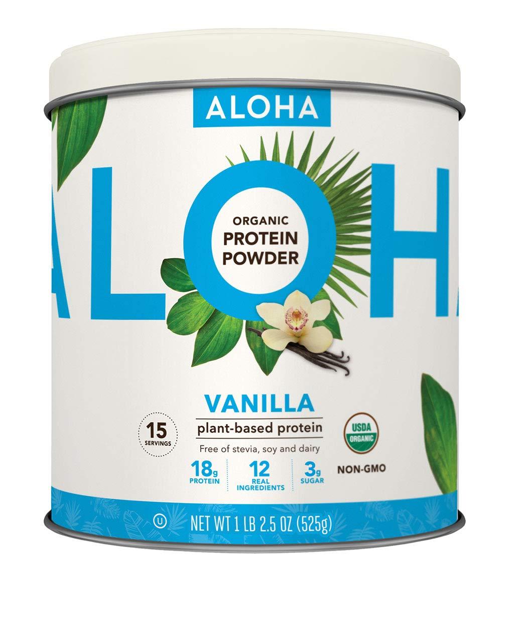 ALOHA Organic Vanilla Plant Based Protein Powder, 18.5 oz, 15 Servings, Vegan, Gluten Free, Non-GMO, Stevia Free, Soy Free, Dairy Free by ALOHA