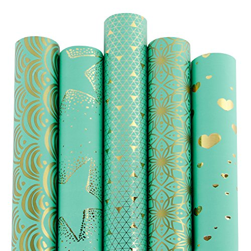 RUSPEPA Gift Wrapping Paper roll-Mint and Gold Foil Pattern for Wedding,Birthdays, Valentines, Christmas-5 Roll-30Inch X 10Feet Per Roll