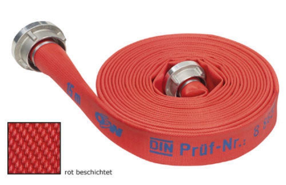 Feuerwehrschlauch rot B/75 - 20 mtr. + Kupplungen Feuerlöschschlauch Bauschlauch